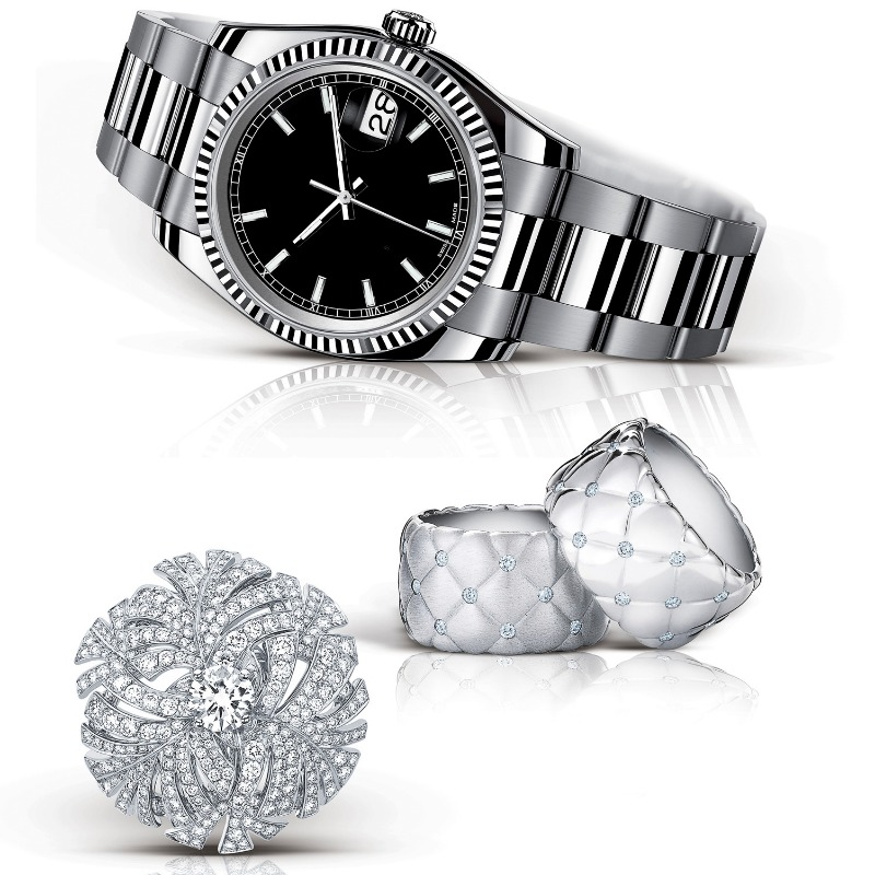 A men's watch can be paired easily with wedding bands and diamonds